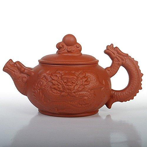 Saibang Chinese Zisha Purple Clay Teapot, New Handmade Dragon Design Porcelain Tea Pot Home Décor, Holds 380cc (Red)