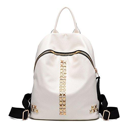 Mochila de gran capacidad mochila de cuero PU para las mujeres Adolescentes Bolsa escuela mochila viaje Blanco Bolsos Mochila Blanco Bolsos Mochila