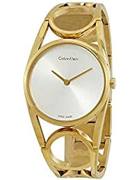 WHITE LABEL ROUND SILVER DIAL GOLD TONE WOMENS WATCH K5U2M546