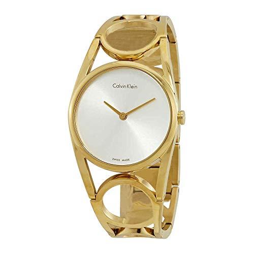 CALVIN KLEIN WHITE LABEL ROUND SILVER DIAL GOLD TONE WOMENS WATCH K5U2M546 Calvin Klein Womens White Dial