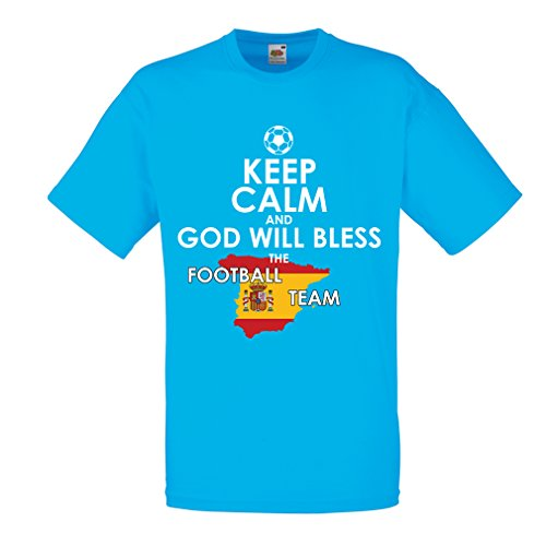 fan products of N4498 T Shirts For Men Keep Calm and God Will Bless The Spanish Football Team (Large Blue Multi Color)