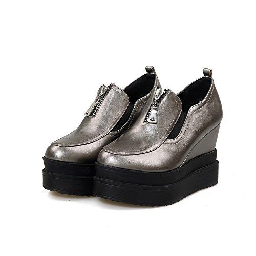 AllhqFashion Damen Rund Zehe Hoher Absatz Rein Reißverschluss Pumps Schuhe Silber