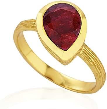 18K Gold-Plated Rim Gemstone Ring