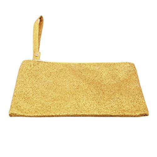 VWH Men Women Wallets PU Bag Zipper Small Mini Clutch Phone Wristlet Party Handbag(Gold) by VWH (Image #4)
