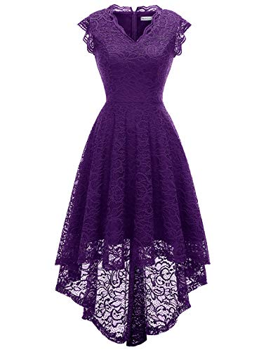 MODECRUSH Womens Ruffle Sleeve Formal Hi Low Floral Lace Cocktail Party Dresses M Purple