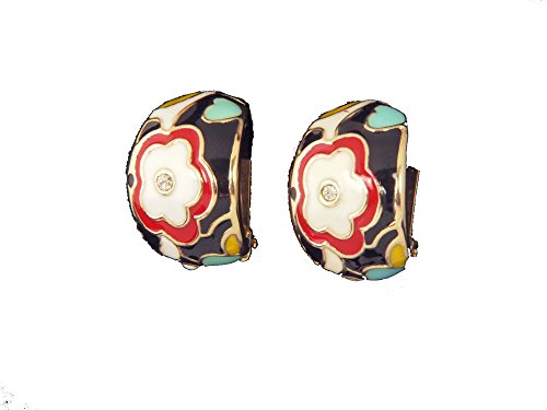 Vintage Style Multi Color Flower Clip On/Non Pierced Earrings Accented with Goldtones 1.25 in