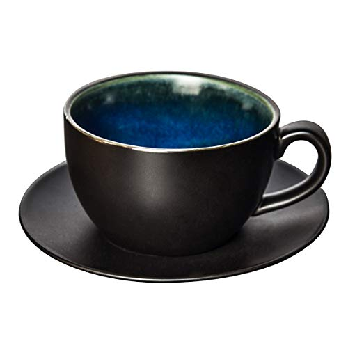 Ceramic Coffee Cup with Saucer-10 oz Porcelain Handmade Natural Color Glaze Clay Tea Cup Saucer Set ()