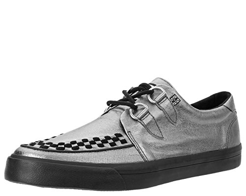 TUK-A9228-Unisex-Metallic-Silver-Leather-VLK-Creeper-Sneaker-with-Black-Sole