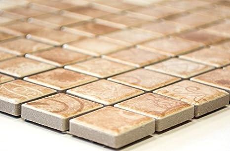 Rete mosaico mosaico piastrelle laceo quadrato beige ceramica