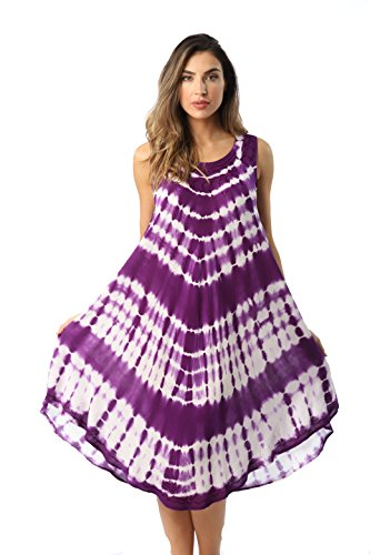 Riviera Sun 21802-PUR-L Dress Dresses for Women Purple/White