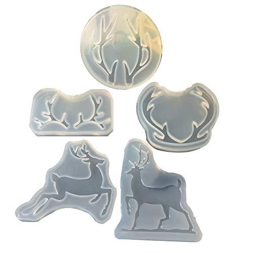 5 Pack, 3 Pack DIY Antler Resin Mold, 2 Pack ELK Silicone Molds ()
