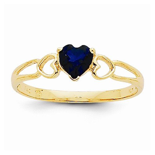 Size - 8.25 - Solid 14k Yellow Gold Dark Blue Simulated Sapphire Simulated Birthstone Ring (2 to 5mm) Dark Blue Sapphire Ring