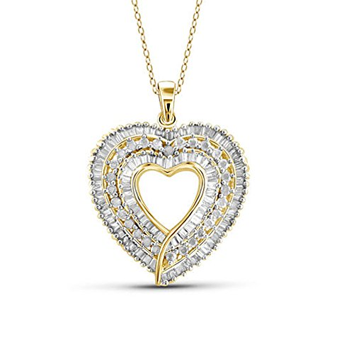 - TrioStar 1.00 CT Round & Baguette CZ Diamond Pendant Heart Necklace 14k Yellow Gold Plated Fine Woman's Jewelry 18