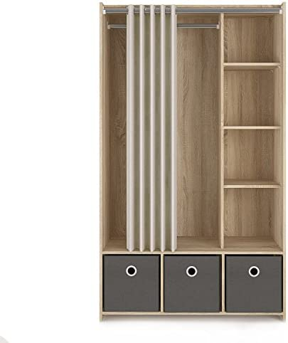 Tvilum Lola 3 Bin Curtain Storage Center, Oak Structure Natural Fabric Grey Textile