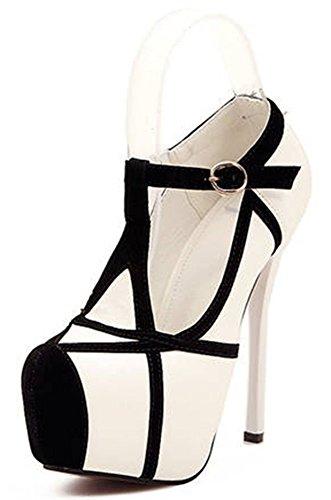 Easemax Femmes Sweet Stiletto Faible Haut Boucle Haut Talon Plateforme Bout Pointu Pompes Chaussures Blanc
