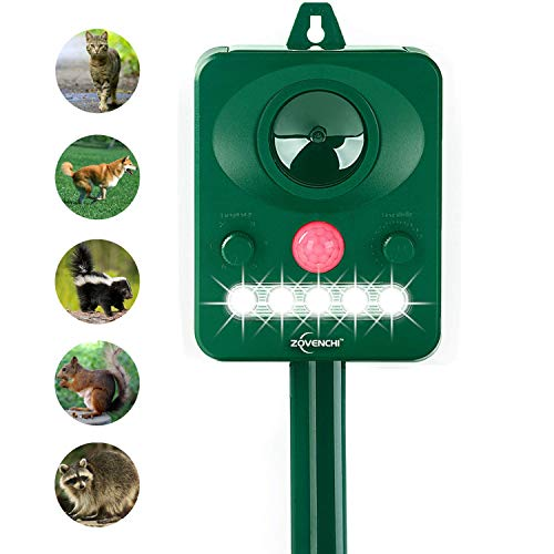 ZOVENCHI Solar Ultrasonic Animal Repeller, Waterproof Animal Repeller Rodent and Pest Repeller Cats, Dogs, Mice, Rabbit, Squirrel Repeller, Motion Activated and Ultrasonic Sound to Repel Animal Away