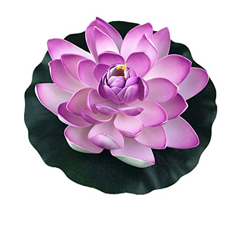 (EvaGO 4 Pack Large Artificial Floating Lotus Flowers for Home Garden Pond Aquarium Wedding Decor-Purple)