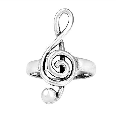 Raised Treble Clef Musical Note .925 Sterling Silver Ring (Elegant Music Rings)