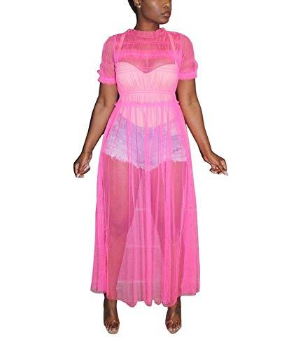 Women Mesh Sheer Dress Short Sleeve Round Neck Ruffle Long Maxi Party Club Dress Bikini Cover up Rose Red