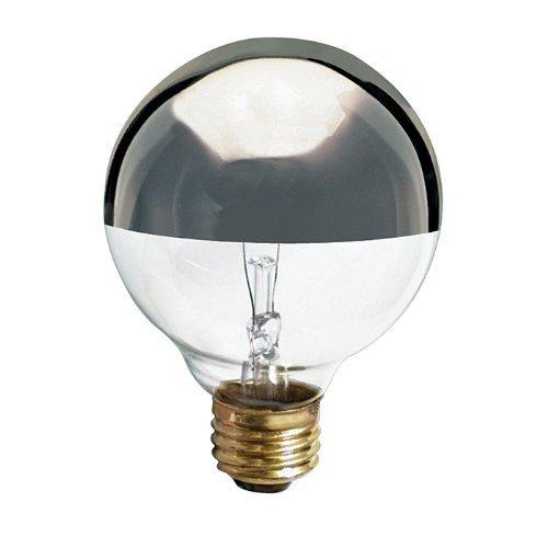 (6 Pack) Satco S3861 - 40 Watt Light Bulb - G25 Globe - Clear Silver Bowl - 1,500 Life Hours - 280 Lumens - Medium Base - 120 Volt (Silver Globe Bulb)