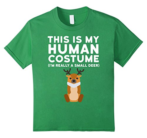 [Kids This Is My Human Costume I'm Really a Deer Halloween Shirt 10 Grass] (Girl Deer Hunter Costume)