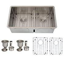32 inch Undermount 60/40 Low Bowl Divider Kitchen Sink, 16 Gauge Stainless Steel, 10mm Radius Corners, Luxury Basket Strainers and Bottom Grids, S-325XG