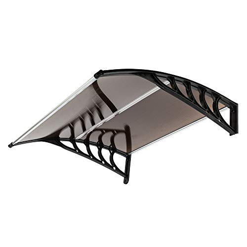 "FCH Window Awning Door Canopy, 40"" x 40"" Window Awning Overhead Door Modern Polycarbonate Cover Outdoor Front Door Patio Canopy UV Rain Snow Sunlight Protection Hollow Sheet/Brown & Black"