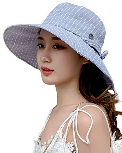 Women's Striped Wide Brim Sun Protection Sun Hat Packable Linen/Cotton Bucket Hat Bowtie Blue ()
