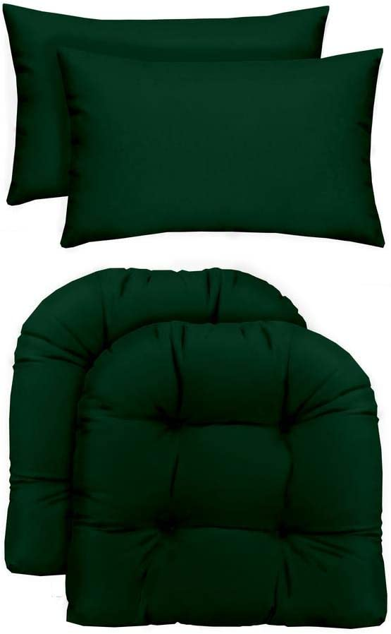 "RSH Décor Indoor/Outdoor - 2 U-Shape Wicker Chair Cushions & Bonus Lumbar/Throw Pillows (2 (19"" x 19"") Cushions & 2 (20"" x 12"") Pillows, Solid Hunter Green Fabric)"