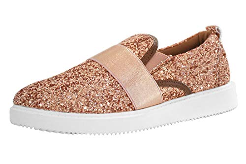 - ROXY-ROSE Glitter Leopard Loafer Sneakers Casual Slip on Sparkly Shoes for Women (9 B(M) US, Rose Gold)