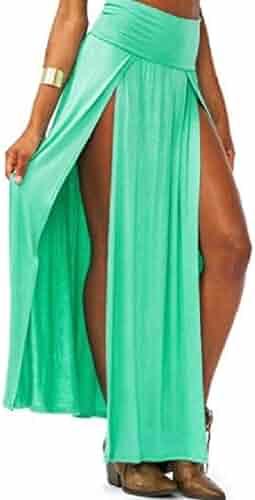 9b7ab023ae354c SELX Women Belly Dance Slit High Rise Beach Pleated A-Line Long Maxi Skirt
