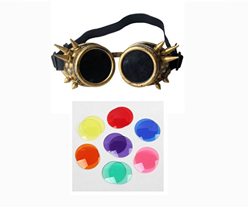 FUT ABS Spiked Steampunk Goggles Glasses Cosplay Costume Props (Brass) by FUT (Image #1)
