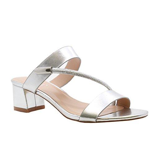 Señoras Medio Bloquear Tacones Abierto Dedo del pie Diamante Strappy Fiesta Sandalias tamaño 36-41 PLATA