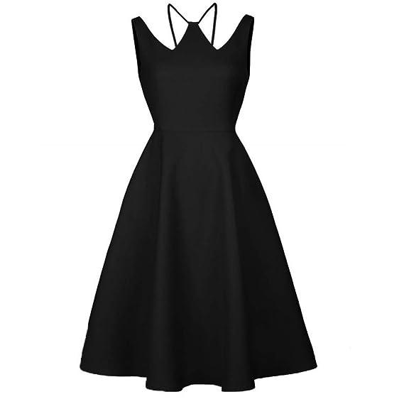 Bahoto Collar Hueco Retro Pequeño Vestido Negro Vestido De