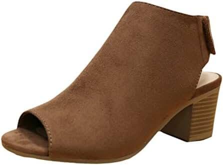 City Classified Women's Harlyn Cutout Peep Toe Stacked Chunky Heel Bootie