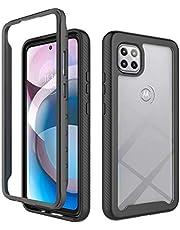 Ttimao Hoesje voor Motorola One 5G Ace 360° Hele Lichaam Shock Proof Doorzichtig Telefoonhoes [Screen Protector] Hybride Flexibele TPU Siliconen en Harde PC Cover Case-Zwart