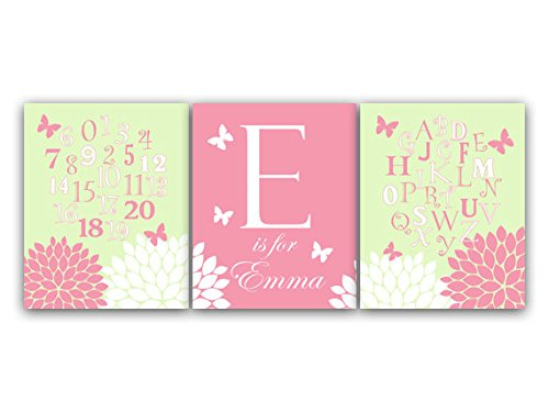 UNFRAMED PRINTS (CHOOSE YOUR SIZES) - Set of 3 Personalized Pink and Green Floral Nursery Wall Art with Monogram and ABC Art - KIDS99