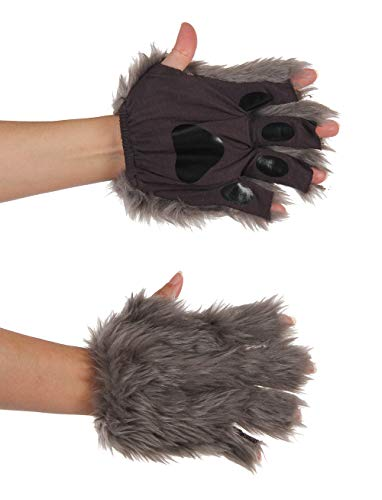 elope Gray Fingerless Costume Wolf Paws for Adults or Kids (Doctor Who Nose Ring)