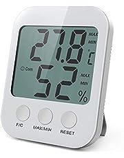 AMIR Termometro Higrometro Interior, Medidor Humedad con Pantalla LCD Grande, Termometro Humedad y Temperatura con Registros Mínimos/Máximos, Indicadores de Confort para El Hogar, La Oficina
