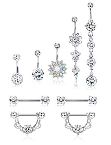 LOLIAS 9Pcs 14G Stainless Steel Belly Button Rings for Women Girls Navel Nipple Tongue Barbell CZ Body Piercing Jewelry Silver