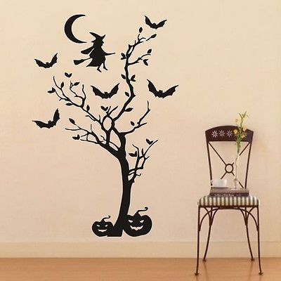 Wall Decals Vinyl Decal Sticker Halloween Witch Pumpkin Home Interior Decor (Halloween Pumpkin Stencils Witch)