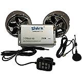 Moto Shark SHKMSDHRS7170BT 250W 2 haut-Parleurs Audio et radio FM avec 2 télécommandes sans fil/filaire) LCD SD/AUX Bluetooth avec antenne externe