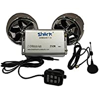 Shark Motorcycle Audio 250W 2 Speakers plus FM radio with 2 Remotes (Wired/Wireless) SD AUX LCD Display + External Antenna Bluetooth