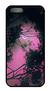 iPhone 5 5S Case, iCustomonline Forest At Night Pink Designs Case for iPhone 5 5S Hard Black