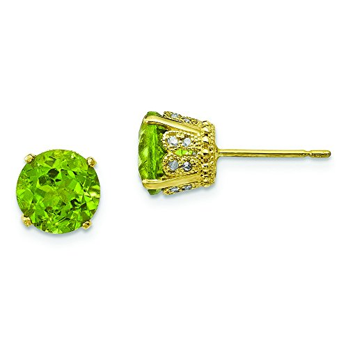 6.9mm 10k Tiara Collection Polished Diamond Peridot Post Earrings by JewelryWeb