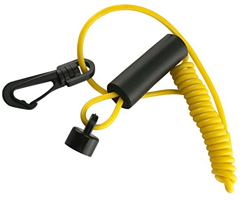 (Compatible With Sea-Doo) Clip-on Non DESS High-Vis Yellow Lanyard Safety Tether Key New Floating Fits MANY 1988-1996 (For OLDER Style Spring Loaded Switch, NOT for newer style with DESS -