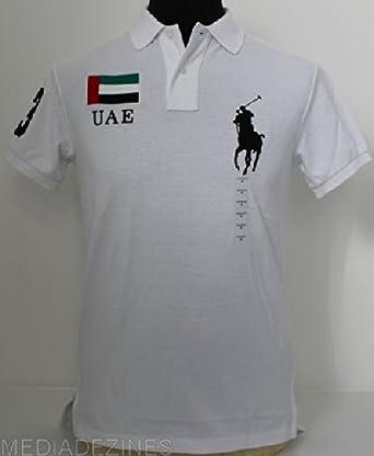 e70639efc8d1 MENS POLO RALPH LAUREN WHITE DUBAI EMIRATES BIG PONY CUSTOM FIT POLO   SMALL  Amazon.co.uk  Clothing