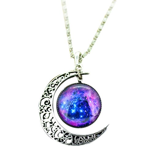 (Clearance!Women Necklace Daoroka Fashion Crescent Moon Pendant Charm Sky Galaxy Universe Time Gem Necklace Jewelry for Mother's Day Gift (Length: 46cm/18.11, Blue))