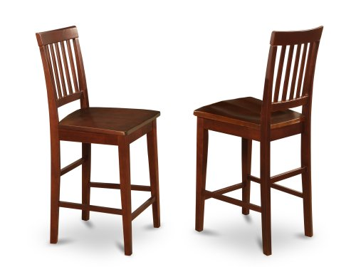 - East West Furniture VNS-MAH-W Counter Stool Set with Wood Seat, Mahogany Finish, Set of 2
