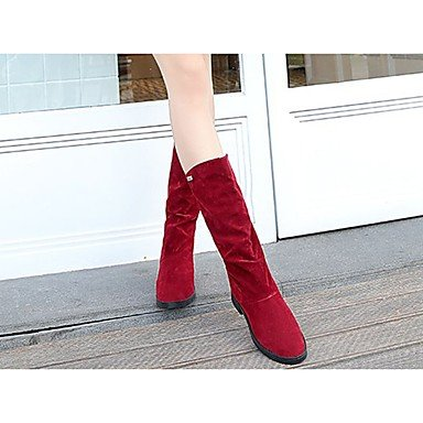 RTRY Zapatos De Mujer Cuero De Nubuck Pu Confort Moda Otoño Botas Botas Chunky Talón Puntera Redonda Mid-Calf Botas Para Luz Casual Marrón Rojo Negro US8.5 / EU39 / UK6.5 / CN40